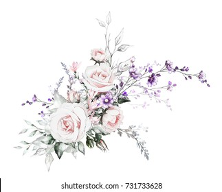 flowers - oil painting. floral illustration, Leaf and buds. Botanic composition with flowers for wedding or greeting card. branch of flowers - roses, isolated on white background