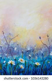 Royalty free stock illustration of flowers oil painting wildflowers flowers oil painting wildflowers chamomile small white flower on blue field orange pink mightylinksfo