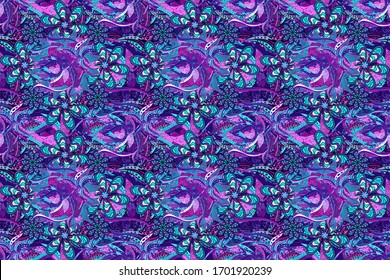 Flowers on black, blue and violet colors. Seamless Floral Pattern in Raster illustration.