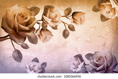 Flowers on a branch painted with oil paint, tinted in cool colors. 3D illustration.