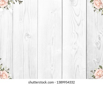 Flowers on the white wooden background.