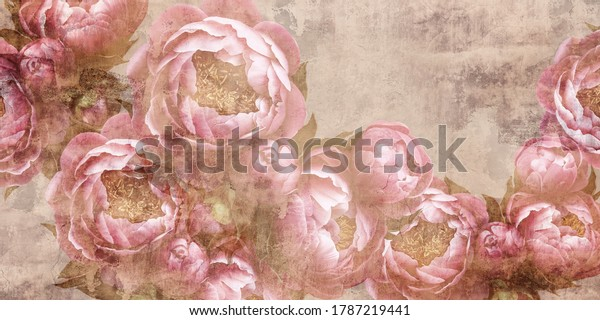 Flowers painted on a concrete wall. Peonies on the wall grunge texture. Photo wallpaper, wallpaper, design for walls.