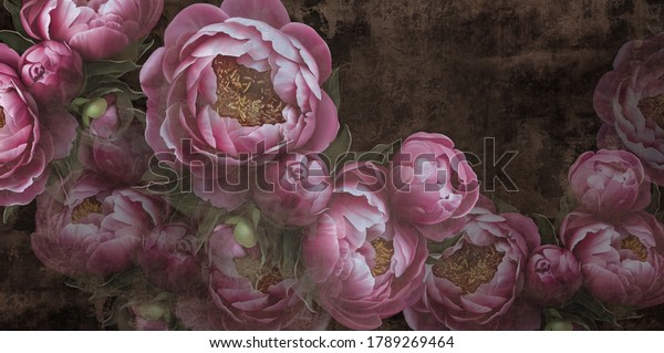 Extra Large Peonies on the wall Photo wallpaper mural, design for walls.
