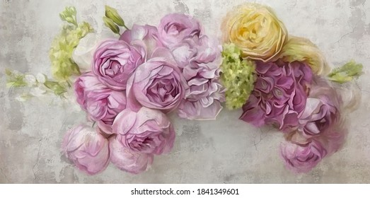 Flowers painted on a concrete wall.Bouquet flowers peonies, hydrangea, roses on the wall grunge texture.Design for wall, photo wallpaper, wallpaper, mural,card, postcard, painting, wedding invitation.