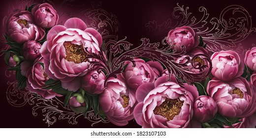 Flowers painted on a dark wall with patterns. Peonies on the wall. Design for walls, photo wallpaper, wallpaper, murals, cards, postcards, paintings.