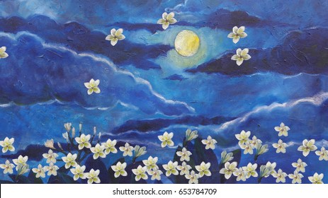 flowers painting white flowers with moon and cloud on the sky ,illustration  blackground
