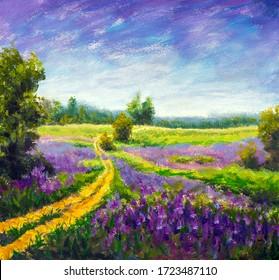 Flowers paintings monet painting claude impressionism paint landscape purple flower meadow oil fine art