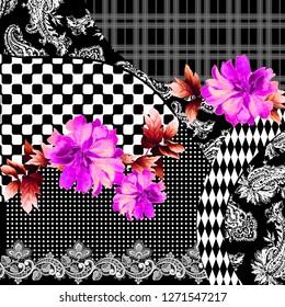 flowers and paisley line pattern new season desıgn
