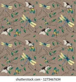 flowers pattern, floral, daisy, roses, wallpepar, print, scarf pattern, Butterfly pattern
