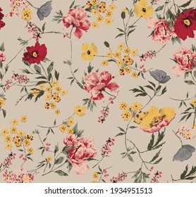 flowers pattern leaves red yellow floral seamless