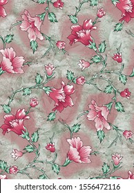 Flowers pattern with multicolor background