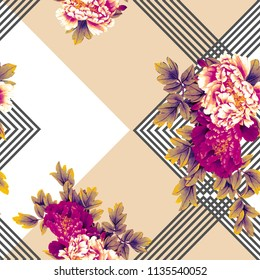 Flowers pattern. For textile, Leaf, Floral, covers, surface, print, gift wrap,scarf,geometric
