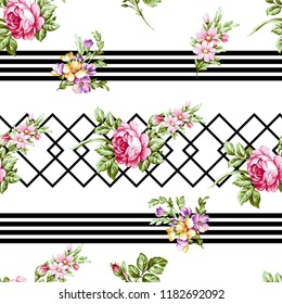 Flowers pattern.for textile, wallpaper, pattern fills, covers, surface, print, gift wrap, scrapbooking, decoupage. Seamless pattern