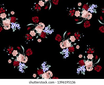 Flowers pattern. for textile, wallpaper, pattern fills, covers, surface, print, gift wrap, scrapbooking, decoupage. Seamless pattern. Ready for textile print. On black background.