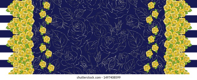 Flowers pattern..for textile, wallpaper, pattern fills, covers, surface, print, gift wrap, scrapbooking, decoupage - İllüstrasyon