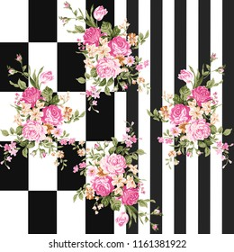Flowers pattern;for textile, wallpaper, pattern fills, covers, surface, print, gift wrap, scrapbooking, decoupage;Silk scarf