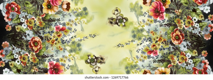 Flowers pattern.Silk scarf design, fashion textile