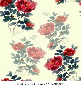 Flowers of peonies on the background of watercolor. Seamless background. Collage of flowers and leaves. Chinese brush drawing on rice paper. Use printed materials, signs, objects, websites, maps.