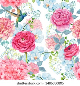 Flowers Ranunculus and a bird Hummingbird.Seamless pattern for printing on fabric and Wallpaper
