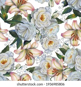 Flowers rose with lily on white background. Floral seamless pattern.