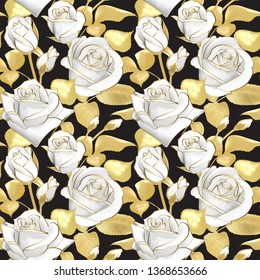 Flowers roses on a black background.  seamless pattern. Gold and white floral design. Vintage. Beautiful bouquets gold foil printing.