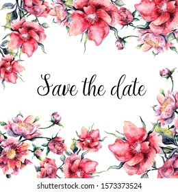 flowers save the date - magnolia with white background