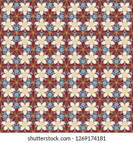 Flowers seamless pattern in beige, blue and red colors. Many cute flowers in ditsy style.