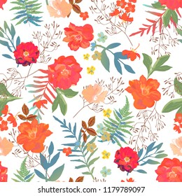 Flowers seamless pattern hand drawn for print design. Modern pattern with colorful roses, ferns.