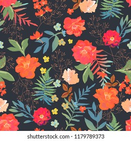Flowers seamless pattern hand drawn for print design. Modern pattern with colorful roses, ferns on black background.