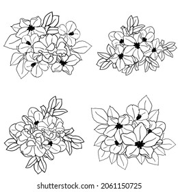 Flowers set. Collection of floral elements