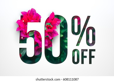 Flowers spring sale 50 percent off. Paper cut with flowers and leaves sale 50% on white background. Unique selling background for flyer, poster, shopping, for symbol sign, discount, selling, banner.