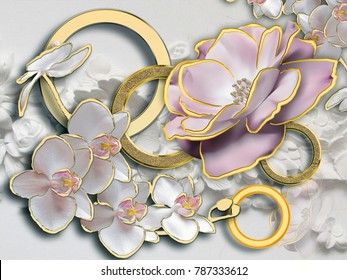 Flowers. Stereoscopic photo wallpaper for interior. 3D rendering.