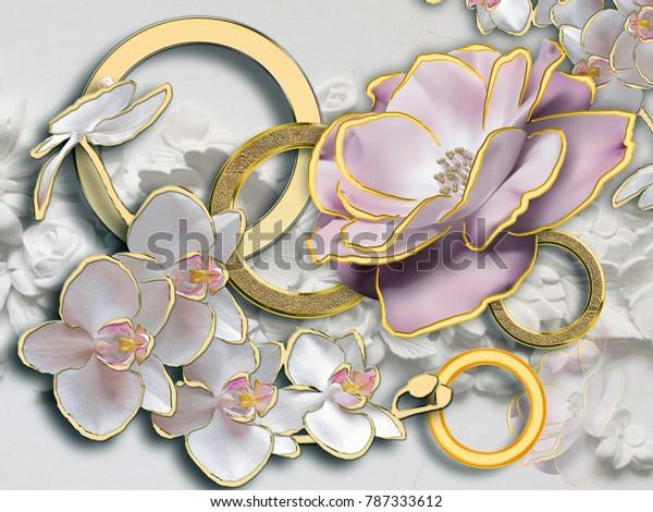 Stereoscopic flower photo wallpaper for interior décor. 3d rendering.