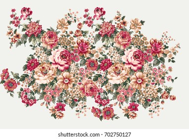The flowers in the sunny day, the leaves and flowers art design