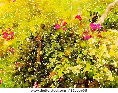 Flowers Tree Green Leaves Natural Garden Stock Illustration