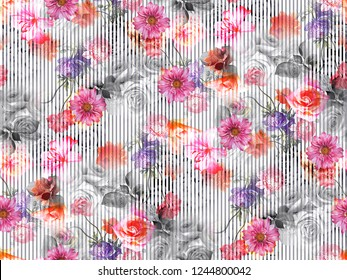 Flowers tulips graphics background HD Wallpaper floral Colorful Image  Color Painting Pattern Allover