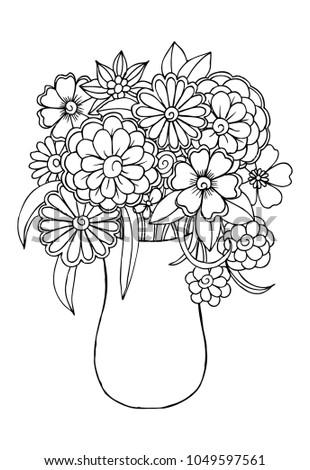 Flowers Vase Coloring Stock Illustration 1049597561 Shutterstock