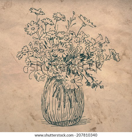 Flowers Vase Sketch Drawing On Crumpled Stock Illustration 207810340