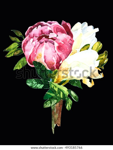 Flowers watercolor  Bouquet and boutonniere .
