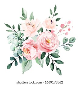 Flowers watercolor, floral blossom clip art. Bouquet pink and burgundy roses perfectly for printing design on invitations, cards, wall art and other. Isolated on white background. Hand painting.