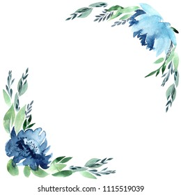 Flowers watercolor frame, isolated on white background. Perfectly for Mother's Day, wedding, birthday, Easter, Valentine's Day. Pastel colors. Spring. Summer.