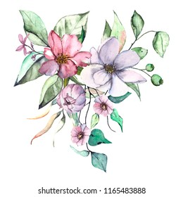 Flowers watercolor. Hand drawn. Bouquet Isolated on white. Lilac, pink and blue composition.