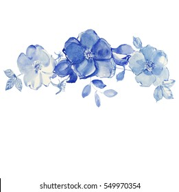 Flowers watercolor illustration. Blue roses.