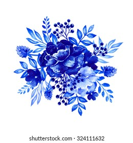 flowers watercolor illustration, bouquet, blue floral design element, isolated on white background, Gzhel ornament