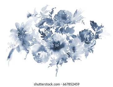 Flowers watercolor illustration. Composition in blue tones.