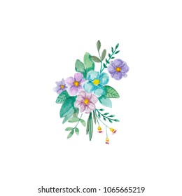 Flowers watercolor illustration. Manual composition.  Watercolor illustrations for book, stickers, logo, business card, Mother's Day, wedding, birthday or postcard illustrations