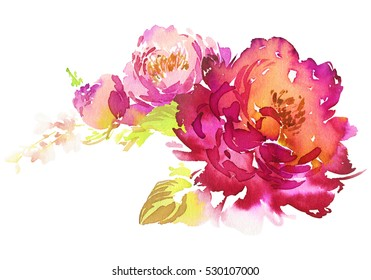 Flowers watercolor illustration. Manual composition. Pastel colors. Spring. Summer.