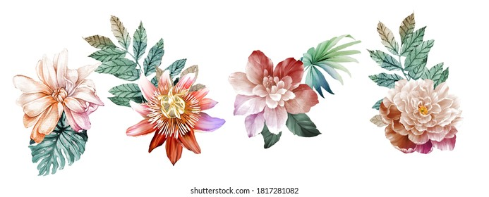 Flowers watercolor illustration.Big Set watercolor elements.