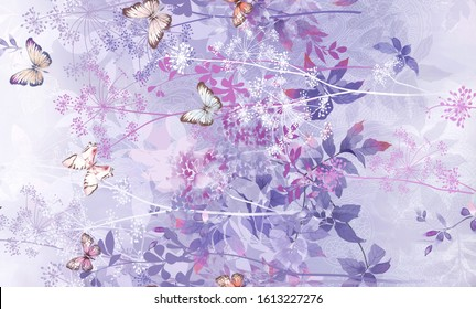 Flowers watercolor illustration.Manual composition. Watercolor elements for greeting card and textile and digital print - Illustration