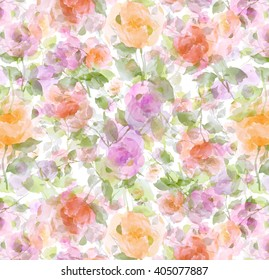 flowers watercolor painting artistic and abstract rose floral decorative seamless wallpaper impressionist background